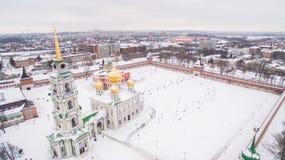 Τούλα Κρεμλίνο κατά τη χειμερινή εναέρια άποψη 05 01 2017 Στοκ Φωτογραφία