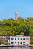 Το άγαλμα του Ιησούς Χριστού στην Αβάνα, Κούβα Διάστημα αντιγράφων για το κείμενο κάθετος Στοκ Εικόνες