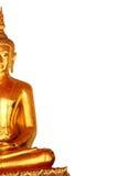 Το άγαλμα του Βούδα περισυλλογής αριστερών πλευρών που απομονώνεται στο άσπρο υπόβαθρο Στοκ Εικόνες