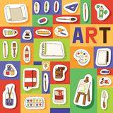 Το άνευ ραφής διάνυσμα σχεδίων στούντιο τέχνης που μελετά στο τέχνη-σχολείο με το χρώμα watercolor εργαλείων καλλιτεχνών βουρτσίζ ελεύθερη απεικόνιση δικαιώματος