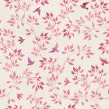 Το άνευ ραφής εκλεκτής ποιότητας σχέδιο με το χέρι χρωμάτισε τα ρόδινα φύλλα, πουλιά Watercolor girly ή θηλυκό σχέδιο Στοκ Εικόνα