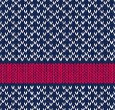 Το άνευ ραφής μπλε άσπρο κόκκινο χρώμα ύφους πλέκει Στοκ Εικόνα