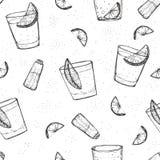 Το άνευ ραφής οινόπνευμα πίνει το διανυσματικό σχέδιο. Σκιαγραφημένο tequila με τον ασβέστη και το άλας Στοκ Εικόνες