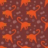 Το άνευ ραφής σχέδιο, αστείες πορτοκαλιές γάτες μέσα καθημερινά θέτει, παίζοντας στο καφετί διάστημα διανυσματική απεικόνιση