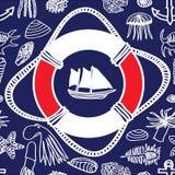 Το άνευ ραφής σχέδιο επανάληψης Nautilus με το μεγάλα δαχτυλίδι ζωής και το χταπόδι, κοχύλια, ψάρια αστεριών, ψάρια ζελατίνας, δέ απεικόνιση αποθεμάτων