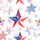 Το άνευ ραφής σχέδιο ημέρας μνήμης Watercolor με το χέρι χρωμάτισε τα κόκκινα, άσπρα και μπλε αστέρια Εορταστικός 4ος του Ιουλίου διανυσματική απεικόνιση