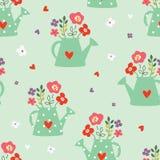 Το άνευ ραφής σχέδιο με το πότισμα μπορεί και λουλούδια Στοκ Εικόνα