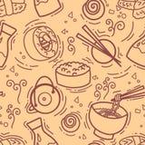 Το άνευ ραφής σχέδιο με τα ασιατικά πρόχειρα φαγητά, το τσάι, τα νουντλς και τα σούσια κυλά το παραδοσιακό φύκι Εστιατόριο κουζίν απεικόνιση αποθεμάτων