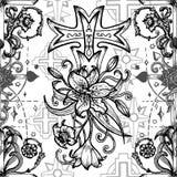 Το άνευ ραφής σχέδιο με τους σταυρούς φαντασίας και τα ιερά εμβλήματα γεωμετρίας στο whiteSeamless σχέδιο με τους σταυρούς φαντασ ελεύθερη απεικόνιση δικαιώματος