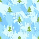 Το άνευ ραφής σχέδιο με fir-trees και την μπλε βούρτσα κτυπά backgroun απεικόνιση αποθεμάτων