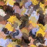 Το άνευ ραφής σχέδιο με το grunge ριγωτό λεκίασε τα χαοτικά στοιχεία για το σχέδιο Ιστού στα μπλε, κίτρινα, μαύρα, καφετιά, γκρίζ Στοκ φωτογραφία με δικαίωμα ελεύθερης χρήσης