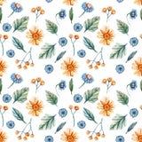 Το άνευ ραφής σχέδιο με το watercolor ανθίζει με τις κίτρινες μαργαρίτες και τα μπλε cornflowers σε ένα άσπρο υπόβαθρο απεικόνιση αποθεμάτων