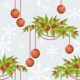 Το άνευ ραφής σχέδιο περιόδου διακοπών Χριστουγέννων με την ένωση σφαιρών μπιχλιμπιδιών Χριστουγέννων στα μούρα της Holly διακλαδ απεικόνιση αποθεμάτων