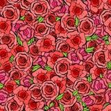 Το άνευ ραφής σχέδιο με βγάζει φύλλα και κόκκινα τριαντάφυλλα στο εκλεκτής ποιότητας ύφος Vect Στοκ Φωτογραφίες