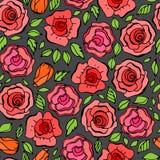 Το άνευ ραφής σχέδιο με βγάζει φύλλα και κόκκινα τριαντάφυλλα στο εκλεκτής ποιότητας ύφος Στοκ Εικόνα