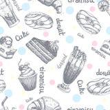 Το άνευ ραφής σχέδιο με τα επιδόρπια δίνει τις συρμένες τηγανίτες και τη γλυκιά κρέμα κέικ σκίτσων κουλουριών διανυσματική απεικό ελεύθερη απεικόνιση δικαιώματος