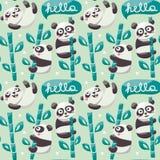 Το άνευ ραφής σχέδιο με τα χαριτωμένα pandas, μπαμπού, βγάζει φύλλα και γειά σου Στοκ Φωτογραφίες
