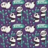Το άνευ ραφής σχέδιο με τα χαριτωμένα pandas, μπαμπού, βγάζει φύλλα Στοκ φωτογραφία με δικαίωμα ελεύθερης χρήσης