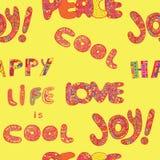 Το άνευ ραφής σχέδιο με τη ζωή λέξεων έχει δροσιά, ευτυχής, χαρά, αγάπη και Π Στοκ Φωτογραφίες