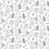 Το άνευ ραφής σχέδιο με τους φοίνικες, βγάζει φύλλα, sculls και βράχοι Στοκ Εικόνες
