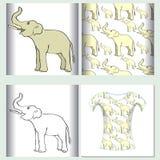 Το άνευ ραφής σχέδιο που χαμογελά τον ελέφαντα λοξά επάνω έθεσε για το τ -τ-shir διανυσματική απεικόνιση