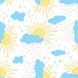 Το άνευ ραφής σχέδιο του ήλιου καλύπτει τη ζωηρόχρωμη βροχή Στοκ εικόνα με δικαίωμα ελεύθερης χρήσης