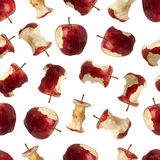 Το άνευ ραφής σχέδιο των δαγκωμάτων έβγαλε ένα μήλο Στοκ φωτογραφία με δικαίωμα ελεύθερης χρήσης