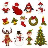 Το άνευ ραφής σχέδιο Χριστουγέννων με Santa, penguin, ελάφια, αντέχει, χιονάνθρωπος, νεράιδα Στοκ Φωτογραφία