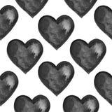 Το άνευ ραφής σχέδιο Grunge με το χέρι χρωμάτισε τις μαύρες καρδιές Στοκ Εικόνα