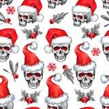 Το άνευ ραφής σχέδιο Watercolor με τα περιγραμματικά κρανία στο καπέλο Santa, snowfalkes, φεύγει Νέο έτος Cretive Εορτασμός Στοκ φωτογραφία με δικαίωμα ελεύθερης χρήσης