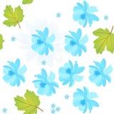 Το άνευ ραφής φυσικό σχέδιο με τον μπλε κόσμο και με ξεχνά όχι λουλούδια, φύλλα viburnum στο άσπρο υπόβαθρο Διανυσματικό σχέδιο ά διανυσματική απεικόνιση