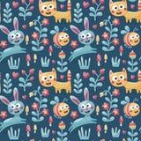 Το άνευ ραφής χαριτωμένο ζωικό σχέδιο έκανε με τη γάτα, λαγοί, κουνέλι, μέλισσα, λουλούδι, φυτό, φύλλο, μούρο, καρδιά, φίλος, flo Στοκ Εικόνα