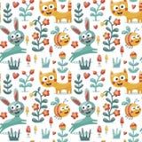 Το άνευ ραφής χαριτωμένο ζωικό σχέδιο έκανε με τη γάτα, λαγοί, κουνέλι, μέλισσα, λουλούδι, φυτό, φύλλο, μούρο, καρδιά, φίλος, flo Στοκ Εικόνες