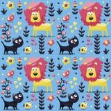 Το άνευ ραφής χαριτωμένο ζωικό σχέδιο έκανε με τη γάτα, λιοντάρι, πουλί, λουλούδι, φυτό, φύλλο, μούρο, καρδιά, φίλος Στοκ εικόνες με δικαίωμα ελεύθερης χρήσης