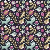 Το άνευ ραφής χαριτωμένο ζωικό σχέδιο έκανε με τη γάτα, πουλί, λουλούδι, φυτό, φύλλο, μούρο, καρδιά, floral γατάκι φίλων Στοκ Εικόνα