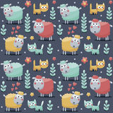 Το άνευ ραφής χαριτωμένο σχέδιο έκανε με τα sheeps, γάτες, λουλούδια, ζώα, εγκαταστάσεις, καρδιές για τα παιδιά Στοκ εικόνες με δικαίωμα ελεύθερης χρήσης