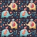 Το άνευ ραφής χαριτωμένο σχέδιο έκανε με τους ελέφαντες, πουλιά, εγκαταστάσεις, ζούγκλα, λουλούδια, καρδιές, μούρο Στοκ Εικόνα