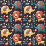 Το άνευ ραφής χαριτωμένο σχέδιο που γίνεται με τους ελέφαντες, λιοντάρι, πουλιά, φυτά, ζούγκλα, λουλούδια, καρδιές, βγάζει φύλλα, Στοκ Φωτογραφία