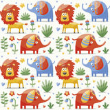 Το άνευ ραφής χαριτωμένο σχέδιο που γίνεται με τους ελέφαντες, λιοντάρι, giraffe, πουλιά, φυτά, ζούγκλα, λουλούδια, καρδιές, βγάζ Στοκ Εικόνα