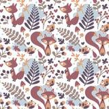 Το άνευ ραφής χαριτωμένο σχέδιο φθινοπώρου έκανε με την αλεπού, πουλί, λουλούδι, φυτό, φύλλο, μούρο, καρδιά, floral βελανίδι Rowa Στοκ Εικόνες