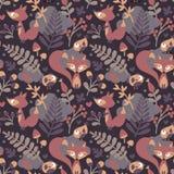 Το άνευ ραφής χαριτωμένο σχέδιο φθινοπώρου έκανε με την αλεπού, πουλί, λουλούδι, φυτό, φύλλο, μούρο, καρδιά, floral βελανίδι Rowa Στοκ εικόνες με δικαίωμα ελεύθερης χρήσης