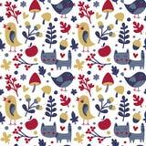 Το άνευ ραφής χαριτωμένο σχέδιο φθινοπώρου έκανε με τη γάτα, πουλί, λουλούδι, φυτό, φύλλο, μούρο, καρδιά, φίλος, floral, φύση, βε Στοκ Εικόνες