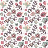 Το άνευ ραφής χαριτωμένο floral σχέδιο άνοιξη έκανε με τα λουλούδια, πουλιά, φυτά, φράουλα, κεράσι, μούρα, φύλλα, φύση Στοκ Εικόνες