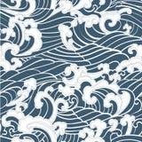 Το άνευ ραφής ωκεάνιο χέρι κυμάτων σχεδίων σύρει το ασιατικό ύφος Στοκ Εικόνα