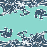 Το άνευ ραφής ωκεάνιο χέρι κυμάτων σχεδίων σύρει το ασιατικό ύφος Στοκ εικόνες με δικαίωμα ελεύθερης χρήσης