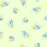 Το άνευ ραφής floral σχέδιο με μεγάλο και λίγο μπλε αυξήθηκε Στοκ Φωτογραφία