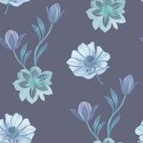 Το άνευ ραφής watercolor ανθίζει το σχέδιο Χρωματισμένα χέρι λουλούδια σε ένα άσπρο υπόβαθρο Λουλούδια για το σχέδιο Λουλούδια δι ελεύθερη απεικόνιση δικαιώματος