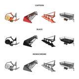 Το άροτρο, συνδυάζει την αλωνιστική μηχανή, το ρυμουλκό και άλλες γεωργικές συσκευές Καθορισμένα εικονίδια συλλογής γεωργικών μηχ ελεύθερη απεικόνιση δικαιώματος