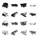 Το άροτρο, συνδυάζει την αλωνιστική μηχανή, το ρυμουλκό και άλλες γεωργικές συσκευές Καθορισμένα εικονίδια συλλογής γεωργικών μηχ απεικόνιση αποθεμάτων