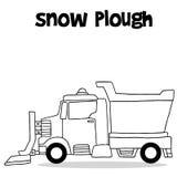 Το άροτρο χιονιού με το χέρι σύρει απεικόνιση αποθεμάτων